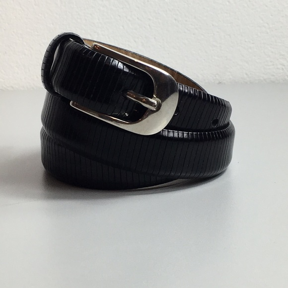 Talbots Accessories - Genuine Leather Black ribbed belt Sz S